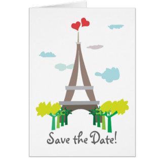 Reserva del boda de París la tarjeta de fecha