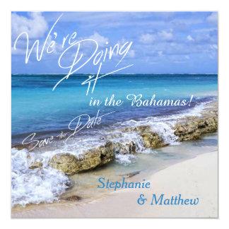 Reserva del boda de playa de Bahamas la fecha Invitacion Personalizada