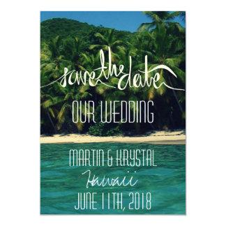 """Reserva del boda de playa de Hawaii la fecha 5 x 7 Invitación 5"""" X 7"""""""