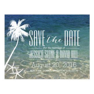 Reserva del boda de playa de la palmera y de las tarjeta postal