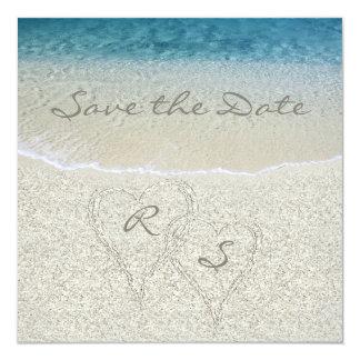 """Reserva del boda de playa de Sandy del brillo la Invitación 5.25"""" X 5.25"""""""