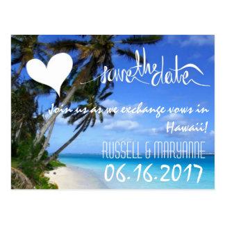Reserva del boda de playa del destino de Hawaii la Tarjeta Postal