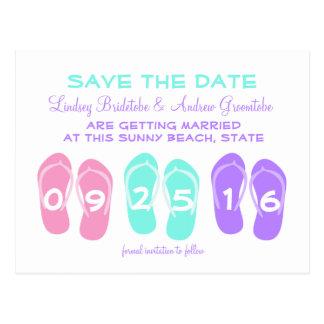 Reserva del boda de playa del flip-flop la fecha tarjetas postales