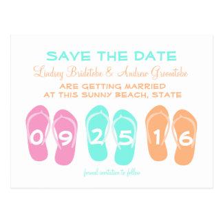Reserva del boda de playa del flip-flop la fecha postal