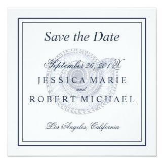 """Reserva del boda de playa del Seashell el cuadrado Invitación 5.25"""" X 5.25"""""""