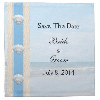 Reserva del boda de playa del Seashell la fecha Servilletas De Papel