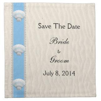Reserva del boda de playa del Seashell la fecha Servilleta Imprimida