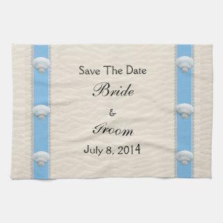 Reserva del boda de playa del Seashell la fecha Toallas