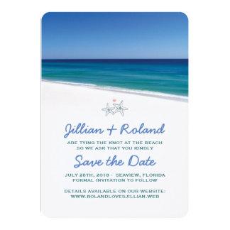"""Reserva del boda de playa la fecha Annoucement Invitación 5"""" X 7"""""""