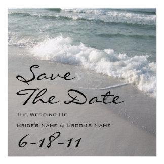 Reserva del boda de playa la fecha - olas oceánica anuncio