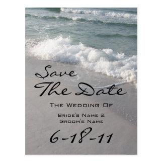Reserva del boda de playa la fecha - olas oceánica tarjeta postal