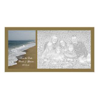 Reserva del boda de playa la fecha tarjetas personales con fotos