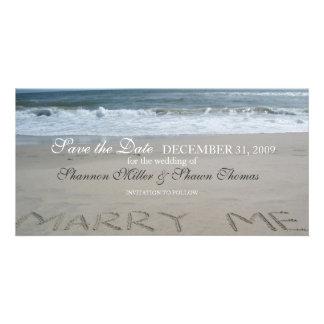 Reserva del boda de playa la invitación de la fech tarjetas fotográficas personalizadas
