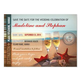 reserva del boda de playa las tarjetas de fecha comunicado