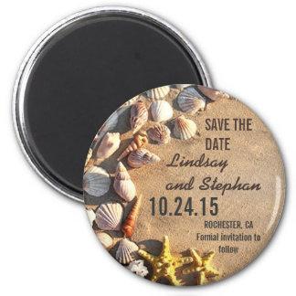reserva del boda de playa los imanes de la fecha imán redondo 5 cm