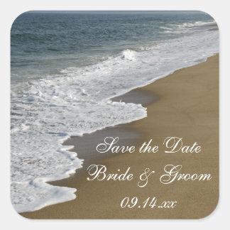 Reserva del boda de playa los pegatinas de la colcomanias cuadradases