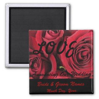 Reserva del boda del AMOR de los rosas rojos el Imán Cuadrado