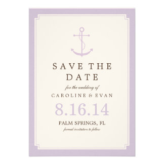 Reserva del boda del ancla de la lavanda la fecha