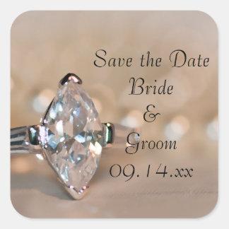 Reserva del boda del anillo de diamante del pegatina cuadrada