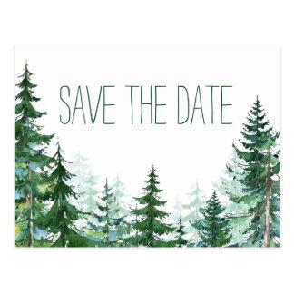 Reserva del boda del árbol de abeto la fecha tarjeta postal