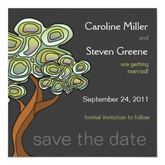 """Reserva del boda del árbol de Eco la fecha Invitación 5.25"""" X 5.25"""""""