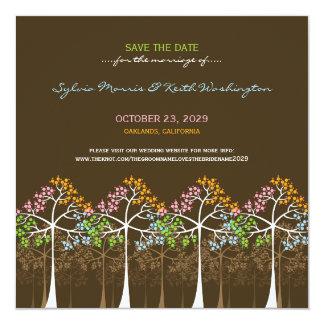 """Reserva del boda del arbolado de cuatro árboles de invitación 5.25"""" x 5.25"""""""
