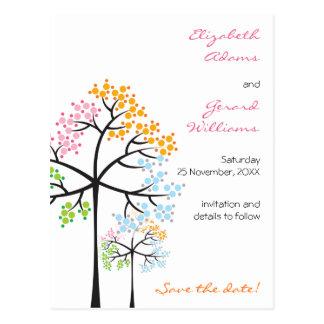 Reserva del boda del arbolado de cuatro árboles de postales