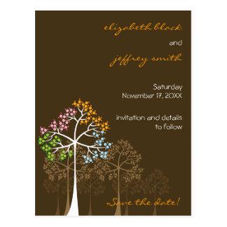 Reserva del boda del arbolado de cuatro árboles de tarjetas postales