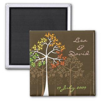Reserva del boda del arbolado de los árboles de la imán de nevera