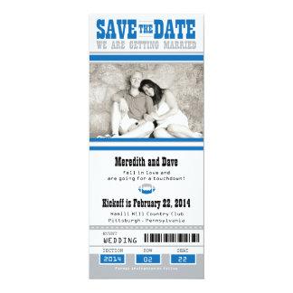"""Reserva del boda del boleto del fútbol la fecha invitación 4"""" x 9.25"""""""