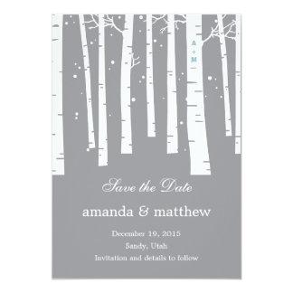 """Reserva del boda del bosque del invierno las invitación 5"""" x 7"""""""