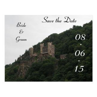 Reserva del boda del castillo la fecha tarjeta postal