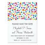 Reserva del boda del confeti las tarjetas de fecha invitacion personalizada