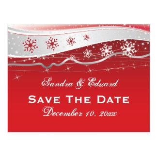 Reserva del boda del copo de nieve del gris rojo, postal
