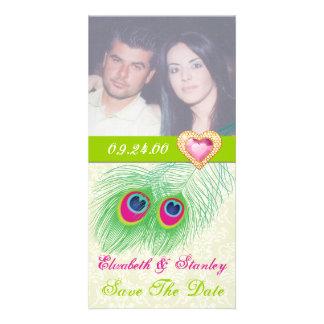 Reserva del boda del corazón de la joya de la plum tarjeta personal con foto