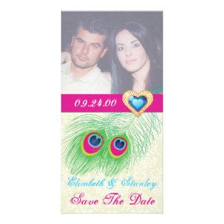 Reserva del boda del corazón de la joya de la plum tarjetas fotograficas