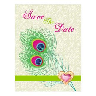 Reserva del boda del corazón de la joya de la plum tarjetas postales