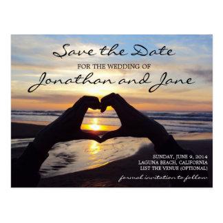 Reserva del boda del corazón del amor del océano tarjetas postales