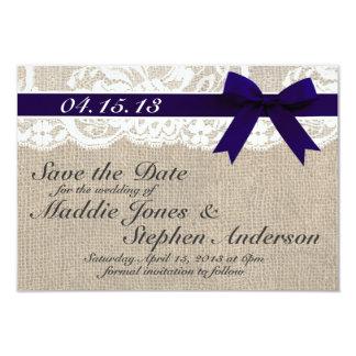 """Reserva del boda del cordón y de la arpillera de invitación 3.5"""" x 5"""""""