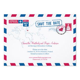 """Reserva del boda del correo aéreo de Polonia la Invitación 5"""" X 7"""""""