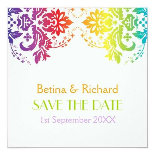 """Reserva del boda del damasco de los colores del invitación 5.25"""" x 5.25"""""""