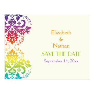 Reserva del boda del damasco de los colores del postal