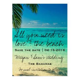Reserva del boda del destino de Bahamas la fecha Tarjeta Postal