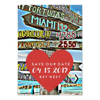 """Reserva del boda del destino de Key West la fecha Invitación 5"""" X 7"""""""