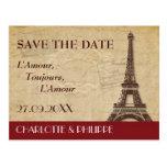 Reserva del boda del destino de París la fecha Tarjeta Postal