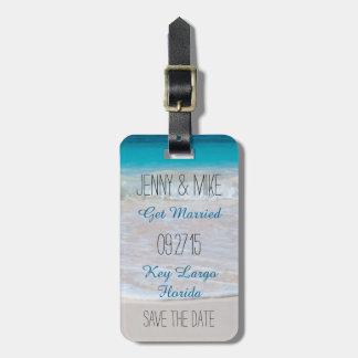 Reserva del boda del destino el equipaje de la etiqueta para maleta