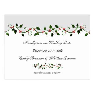 Reserva del boda del día de fiesta de diciembre el postales