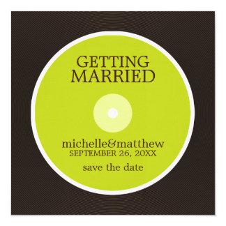 Reserva del boda del disco de vinilo la fecha comunicados personalizados