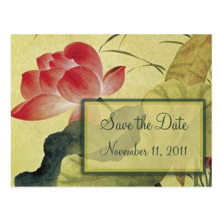Reserva del boda del flor de Lotus la postal de la