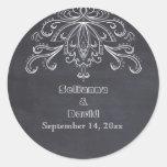 Reserva del boda del flourish del vintage de la pegatina redonda